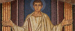 Mosaic of St Benedict as a school boy in Rome