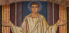 Latin courses: mosaic of Benedict of Nursia when a school boy in Rome